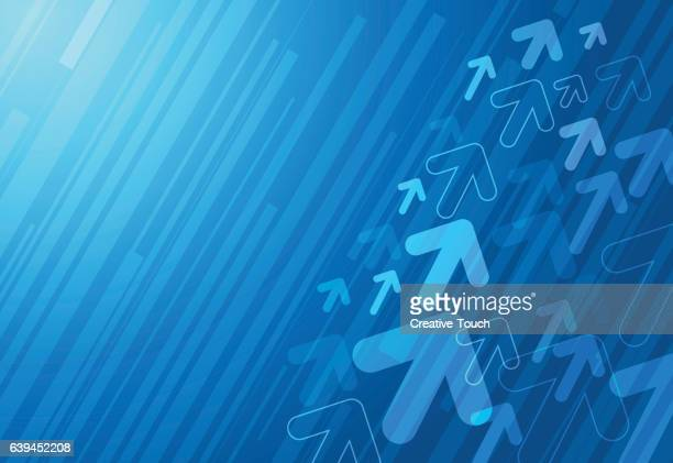 abstract blue arrows background - moving up stock illustrations