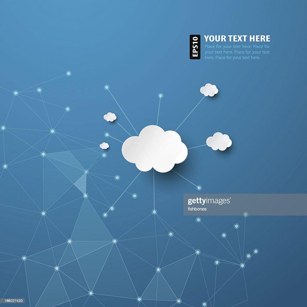 Abstrakt Blau Hintergrund mit weißen Wolken : Stock-Illustration