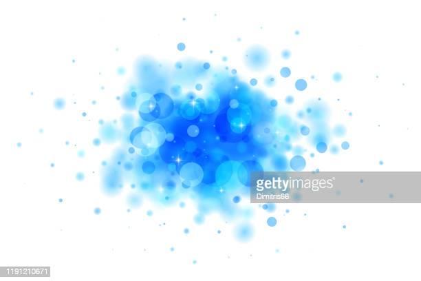 焦点を当てた円と星から作られた白の抽象的な青いブロブ - 粒子点のイラスト素材/クリップアート素材/マンガ素材/アイコン素材