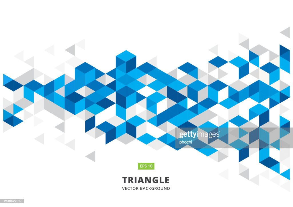 abstract blue geometric background with polygonal triangles, cube pattern.Template design with color triangle for brochure, leaflet, flyer design. Vector