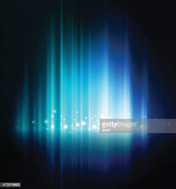 stockillustraties, clipart, cartoons en iconen met abstract blue glow background with white lights - licht natuurlijk fenomeen