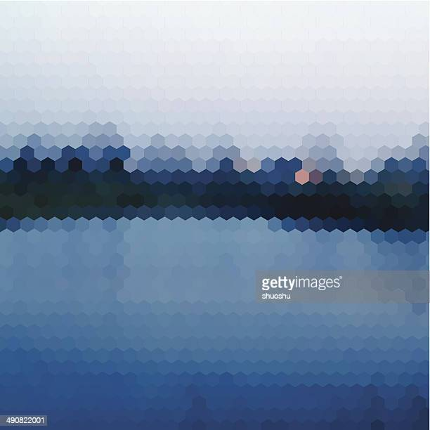 abstract blue hexagon nature landscape pattern background