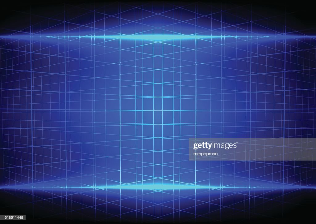 abstract blue light effect and grid perspective pattern