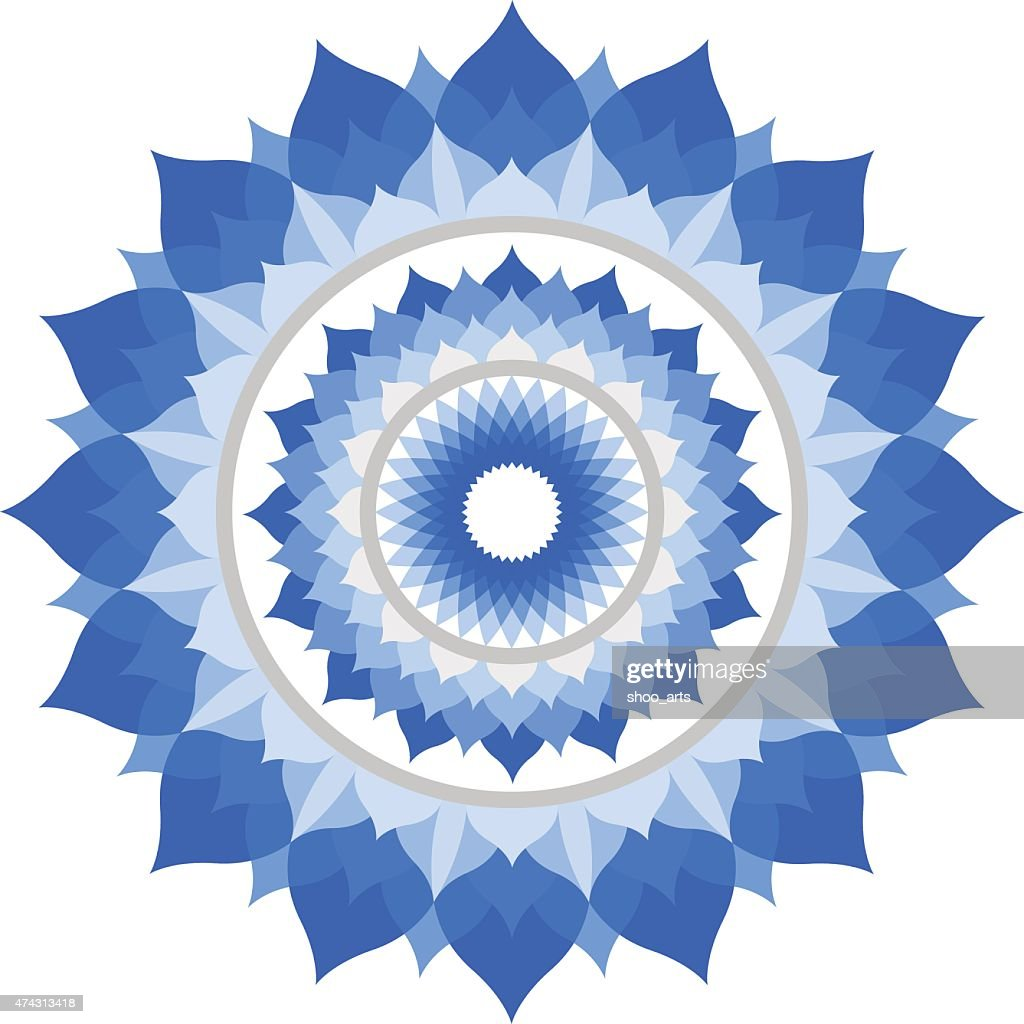 abstract blue mandala of Vishuddha chakra vector