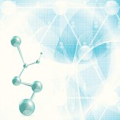 Abstract blue molecule background