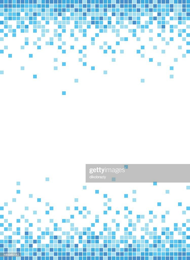 Abstract Blue Mosaic Frame Background - Illustration