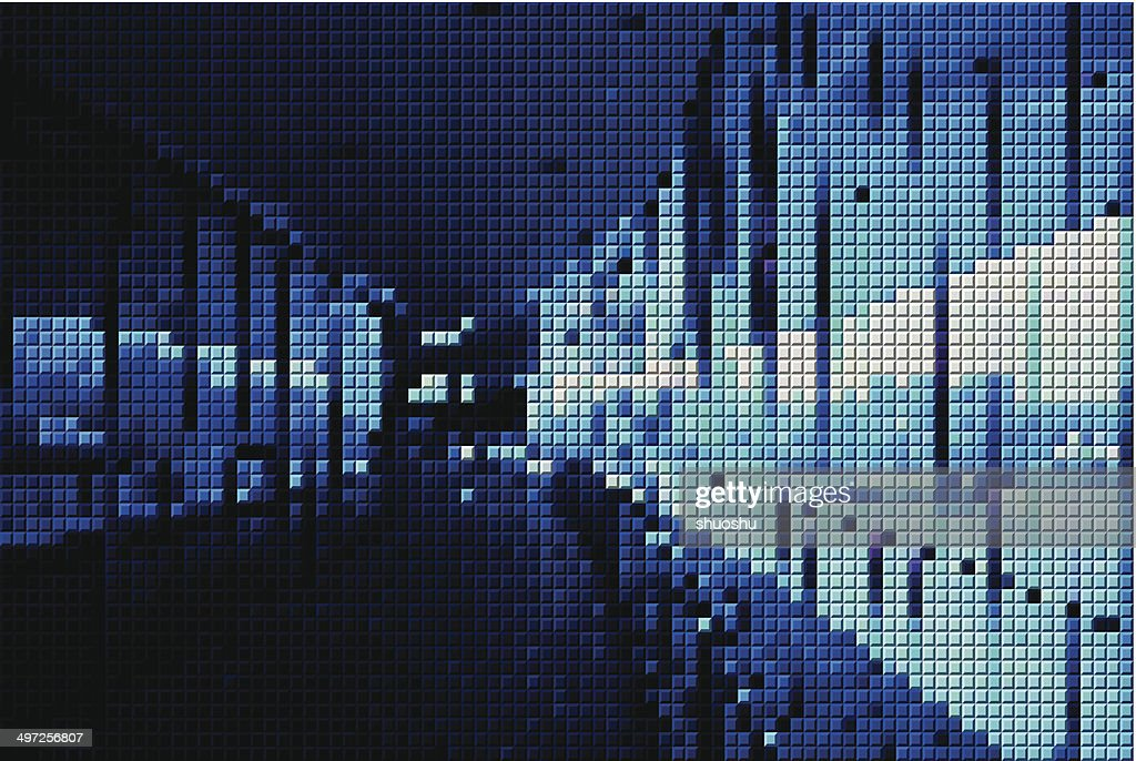 abstract blue mosaic inside of building pattern background