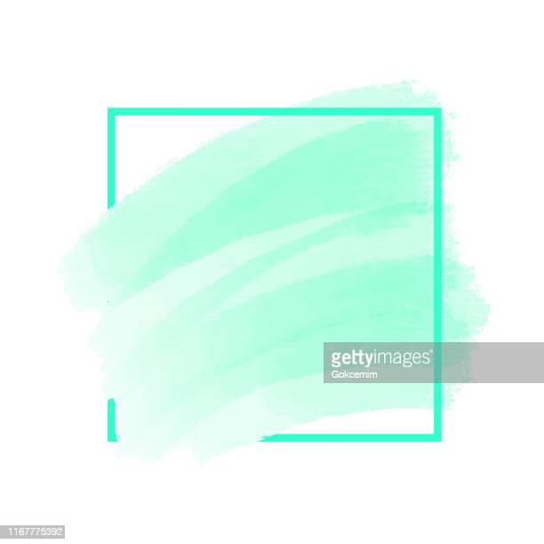 abstract blue paint brush stroke with frame isolated on white background. design element for greeting cards and labels. abstract modern blue background. - pastel stock illustrations