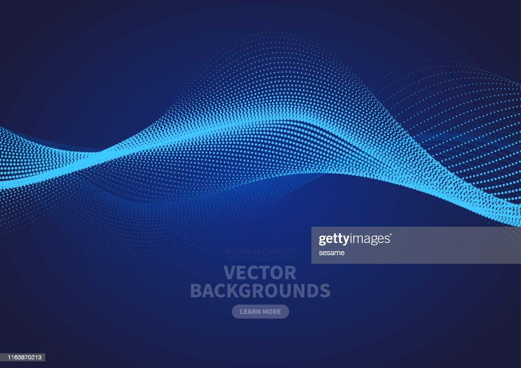 Design astratto del vettore increspatura delle particelle blu : Illustrazione stock