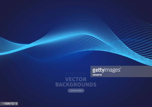 abstract blue particle ripple vector design - atomic imagery stock illustrations