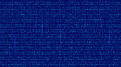 Abstract Blue Technology Background. Binary Computer Code.