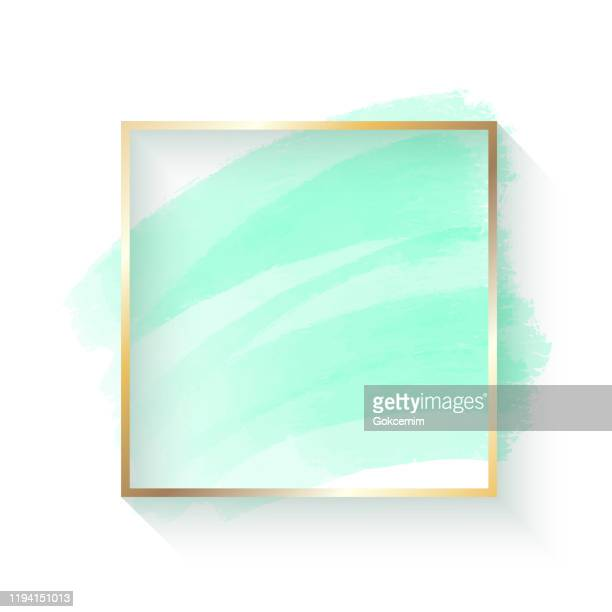 abstract blue turquoise colored paint brush stroke with gold frame isolated on white background. design element for greeting cards and labels. abstract modern blue turquoise colored background. - pastel colored stock illustrations