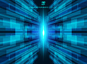 Abstract blue virtual technology concept futuristic digital perspective background
