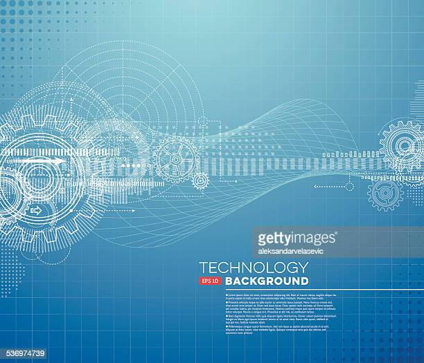 abstract blueprint background - machine part stock illustrations