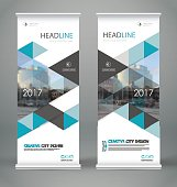Abstract blurb font. White roll up brochure cover design.