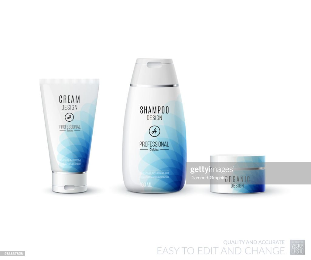 Abstract body care cosmetic brand concept. Tube cream, shampoo p