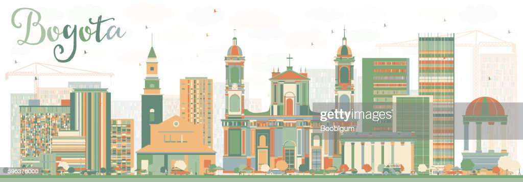 Abstract Bogota Skyline with Color Buildings.