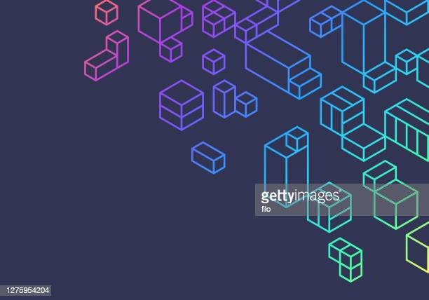 abstract boxes cubes background design - colors of rainbow in order stock illustrations