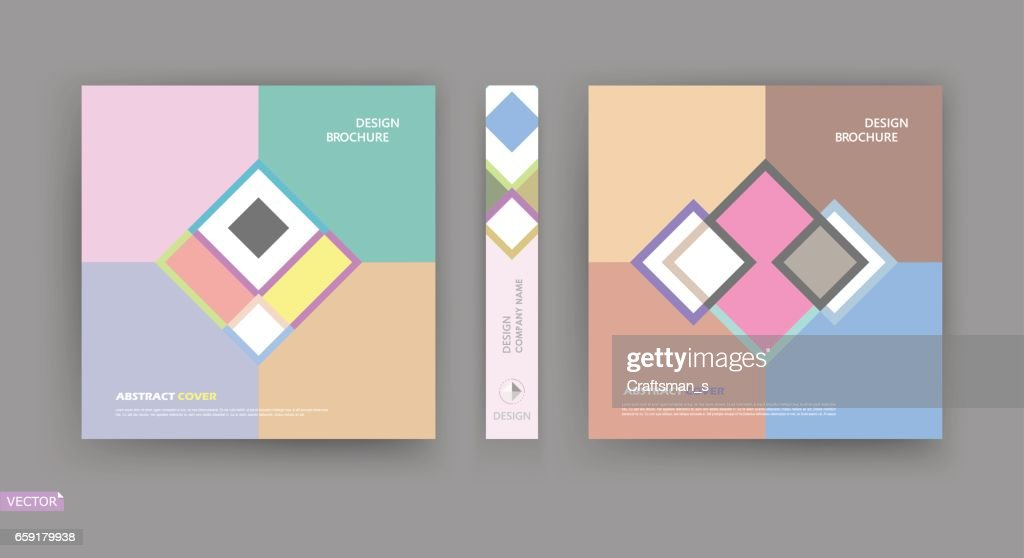 Abstract bright a4 brochure cover design. Info banner frame. Patch title sheet model set. Modern vector front page art. Elegant brand logo texture. Colored figure icon. Ad flyer text font. Fancy fiber