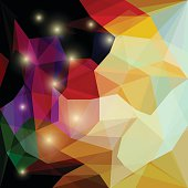 Abstract bright colored polygonal triangular background with glaring lights