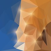 Abstract bright shining polygonal triangular background with glaring lights