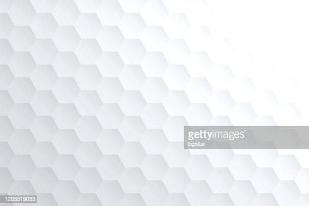 abstrakte helle weiße hintergrund - geometrische textur - sechseck stock-grafiken, -clipart, -cartoons und -symbole