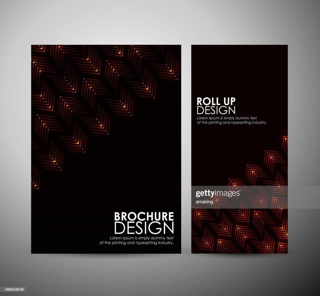 抽象的なビジネスパンフレットテンプレートデザインやロールアップしてい
