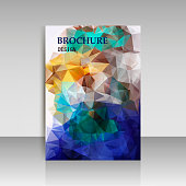 Abstract brochure flyer design in geometrical polygonal triangles style