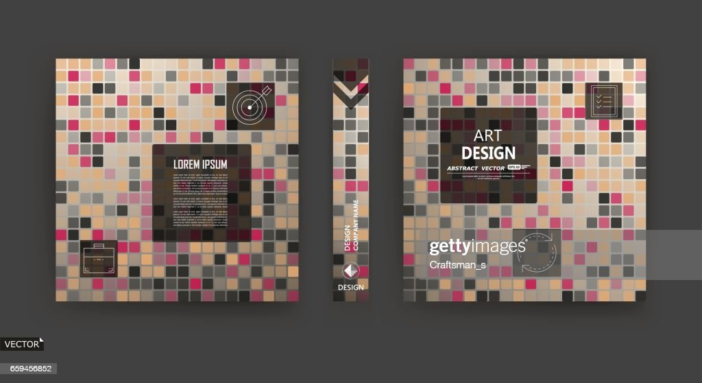Abstract brown, beige a4 brochure cover design, info banner frame, title sheet model set. Modern vector front page art with elegant box block texture. Fancy colored figure icon for ad flyer, text font