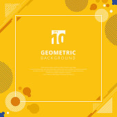 Abstract brown circle geometric pattern design on yellow mustard color background with copy space.