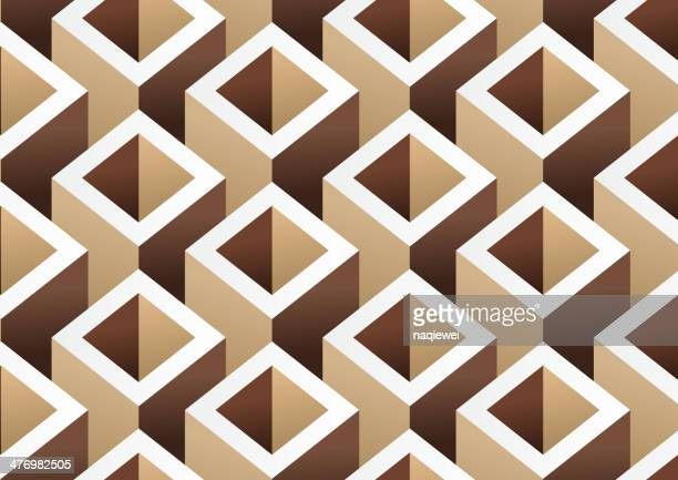 bildbanksillustrationer, clip art samt tecknat material och ikoner med abstract brown cube pattern background - bloco