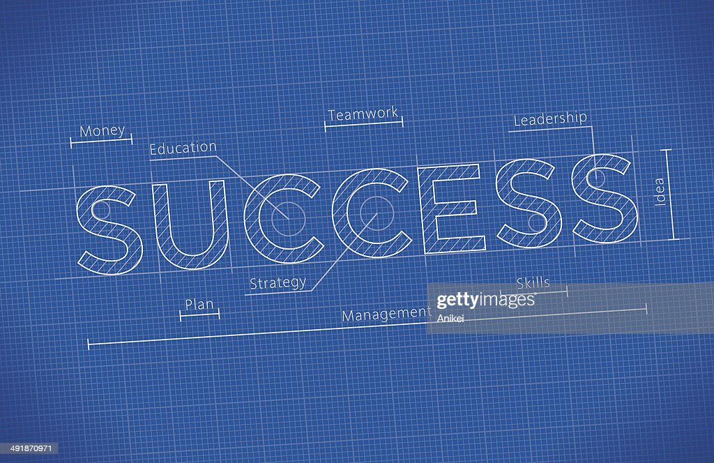 Abstract Business Blueprint with Success word