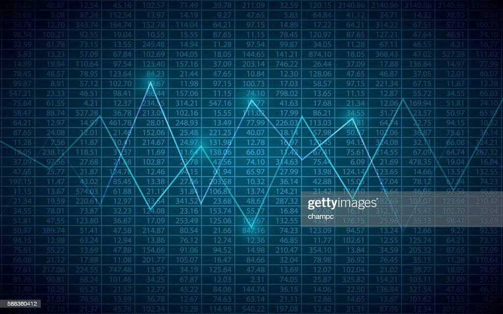 abstract Business chart with line graph and stock numbers