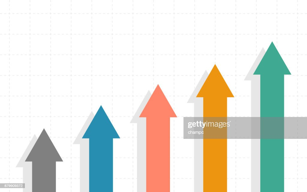 Abstract Business chart with uptrend line graph and arrows of stock market in flat icon design on white color background