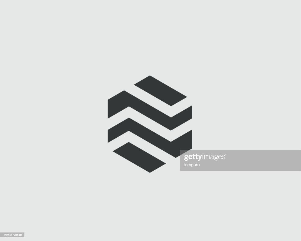 Abstract business premium logo design template. Hexagon real estate finance universal vector logo icon