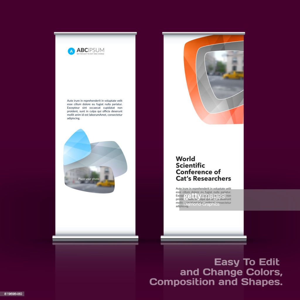 Abstract Business Vector Set Of Modern Roll Up Banner Stand Design ...