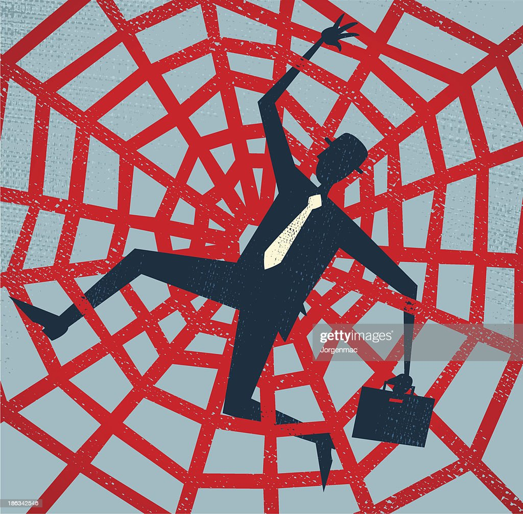 Abstract Businessman caught in a Spiders Web.