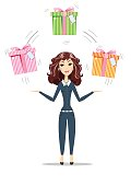 Abstract Businesswoman holding gift box with bow.