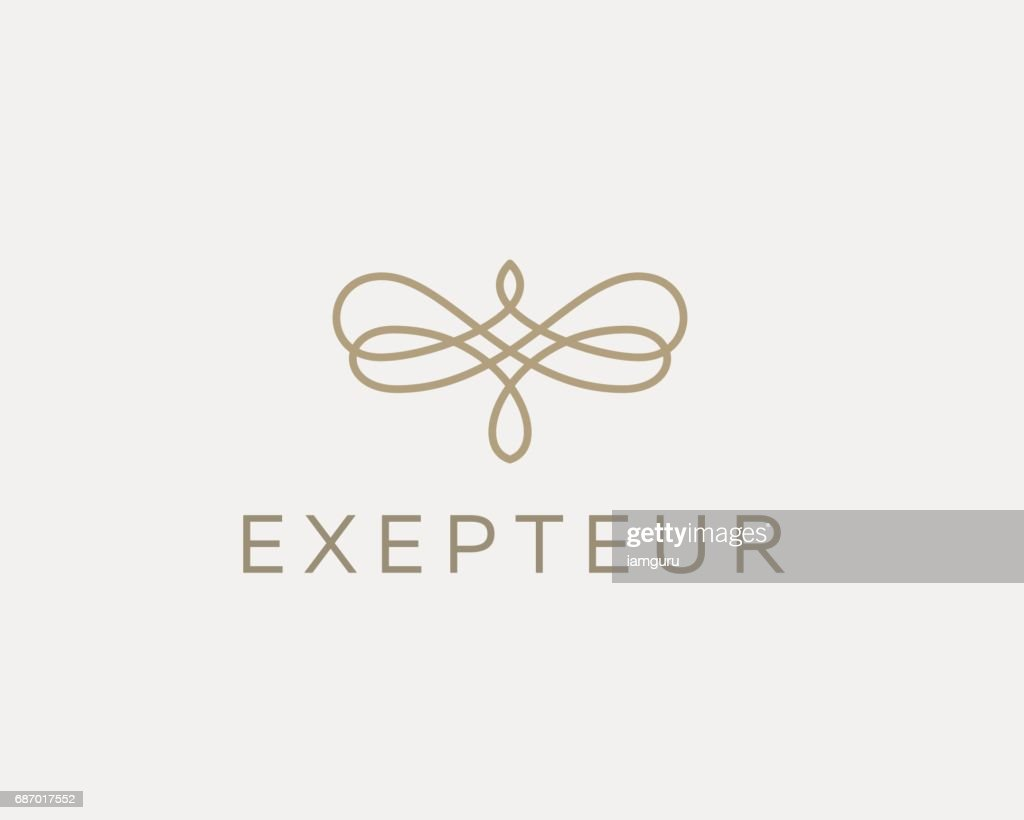Abstract butterfly flower linear weave icon symbol. Premium pattern universal vector icon.