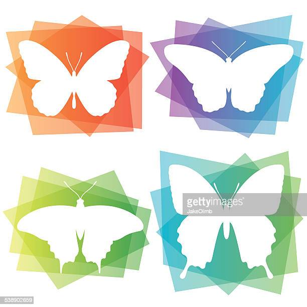 abstract butterfly icons - animal markings stock illustrations, clip art, cartoons, & icons