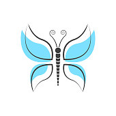 Abstract Butterfly logo template. simple Vector logo illustration