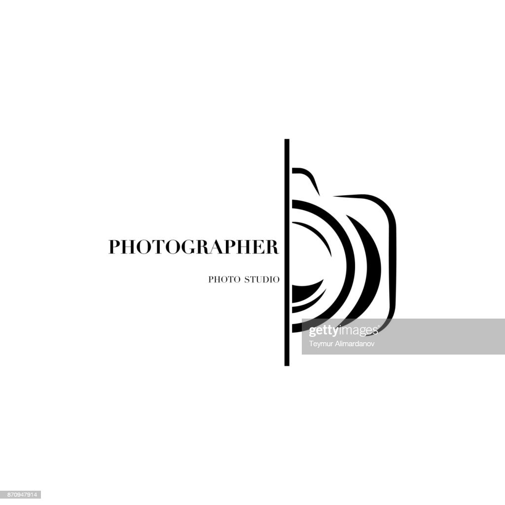 Abstract camera icon vector design template for professional photographer or photo studio