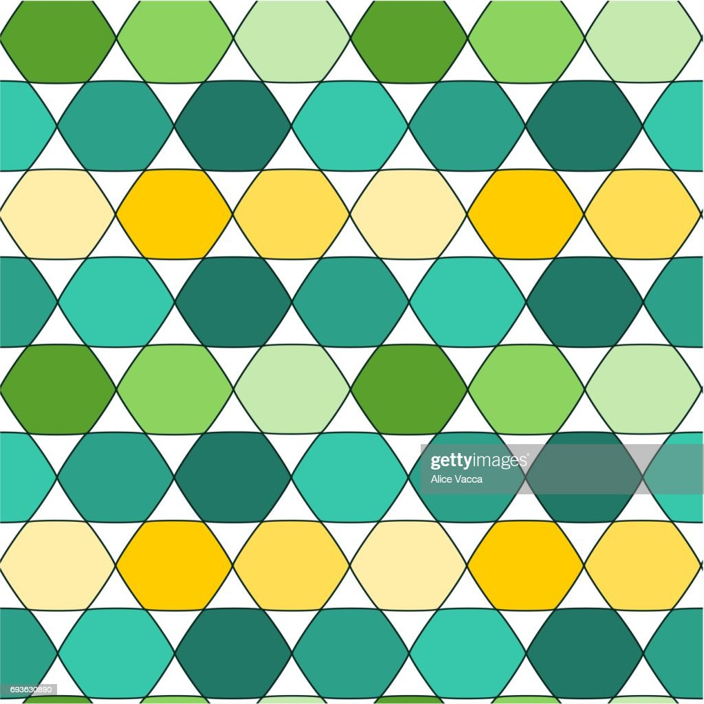 Abstract Cartoon Floor With Colorful Hexagon Seamless Vector Pattern ...