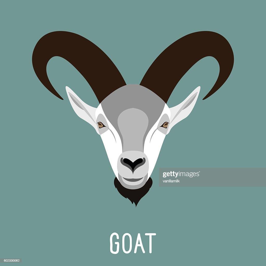 Abstract cartoon goat portrait.