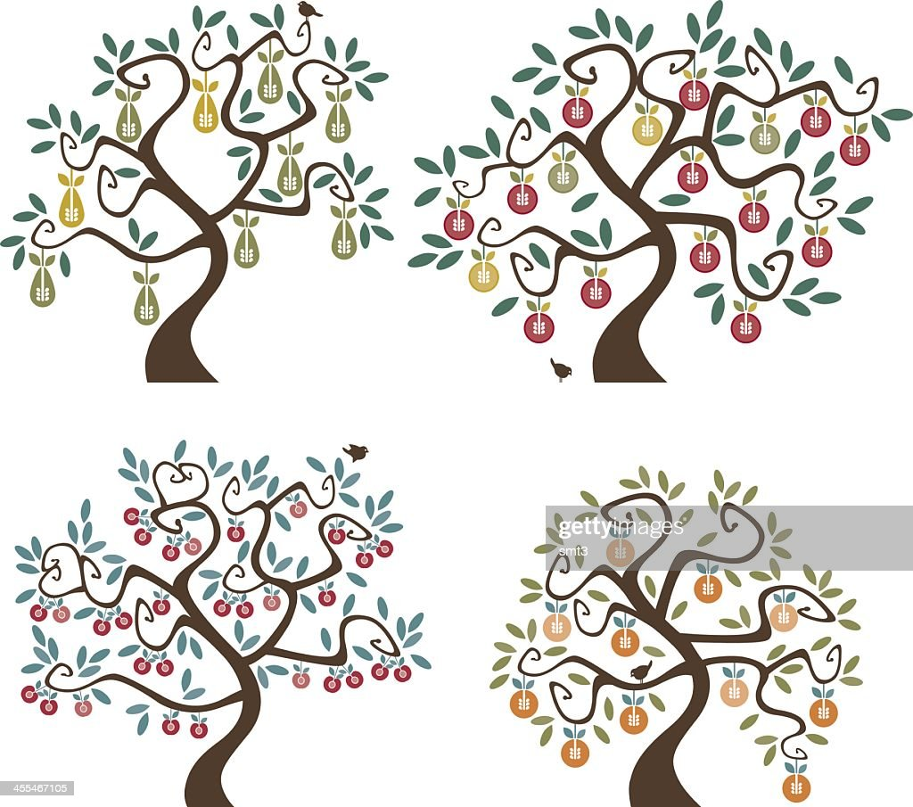 Abstract cartoon of 4 different fruit trees