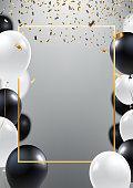 Abstract ceremonial silver background with black and white balloons. Gold frame and falling golden confeti. A4 design concept for grand opening invitation, sale banner, party flyer. Vector eps 10.