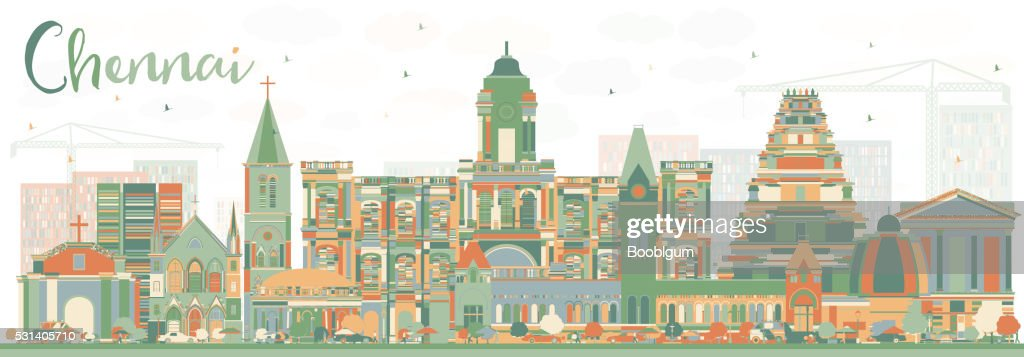Abstract Chennai Skyline with Color Landmarks.