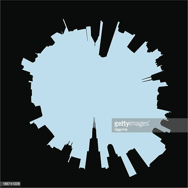 abstract chicago skyline - chicago stock illustrations, clip art, cartoons, & icons