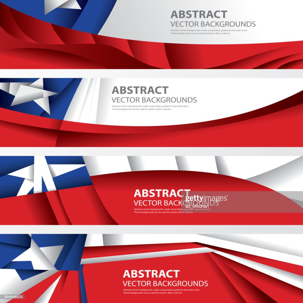 Abstract Chile Background Flag Collection, Chilean Art (Vector Art)