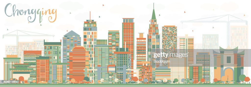 Abstract Chongqing Skyline with Color Buildings.